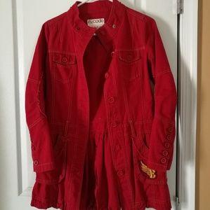 Women's red long jacket wind coat detachable hood
